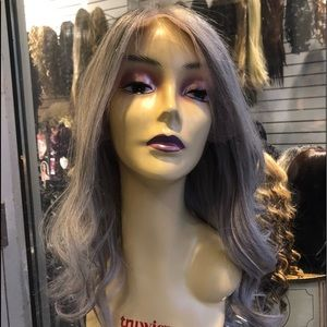 Human hair Wig Fulllace Silver grey ice blonde Wig